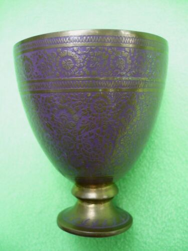 Vintage small metal CHALICE w/PURPLE flower designs & gold colored filigree. Exc