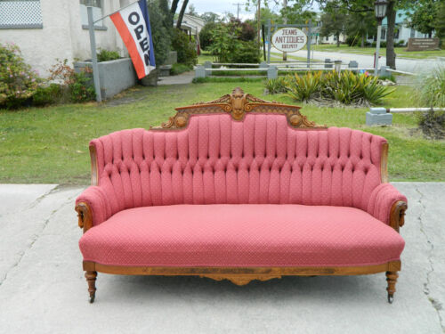 Gorgeous Walnut Victorian Sofa with Carved Dolphins circa 1875