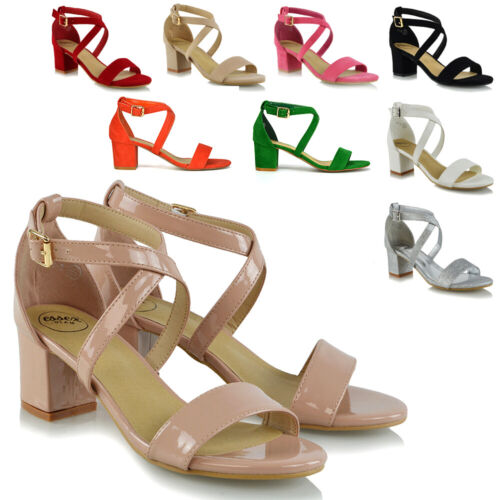 Womens Strappy Sandals Low Mid Heel Block Ladies Peep Toe Party Prom Shoes Size