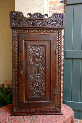 Antique English Dark Oak Carved Corner Cabinet Shelf Wall or Table Jacobean