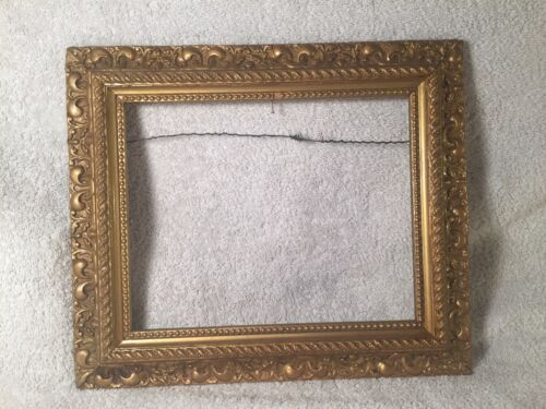 "19th Century Ornate Carved Wood Gesso Gold Victorian Oil Painting Frame 14"" x 11"