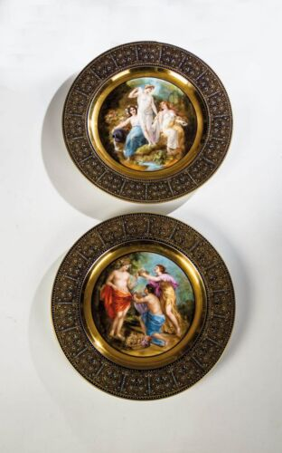 Antique ROYAL VIENNA Gilt & Jeweled Hand Painted Cabinet Plate 19th C