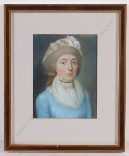 """""""Portrait of a lady in blue gown"""", German pastel, 1790s"""
