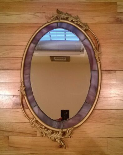Antique Oval Metal Ornate Frame with Artist Made Stained Glass Mirror Wall Hall