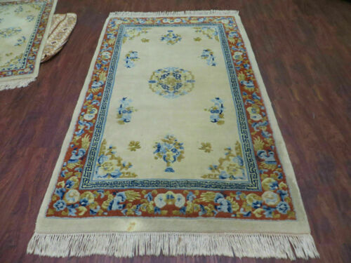 CLEARANCE SALE REDUCED PRICE 4' X6' Vintage Hand Made Indo Chinese Wool Rug Nice