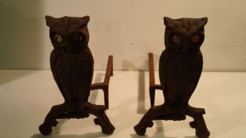 Antique CAST IRON OWL ANDIRONS with GLOWING GLASS AMBER EYES Fireplace Primitive