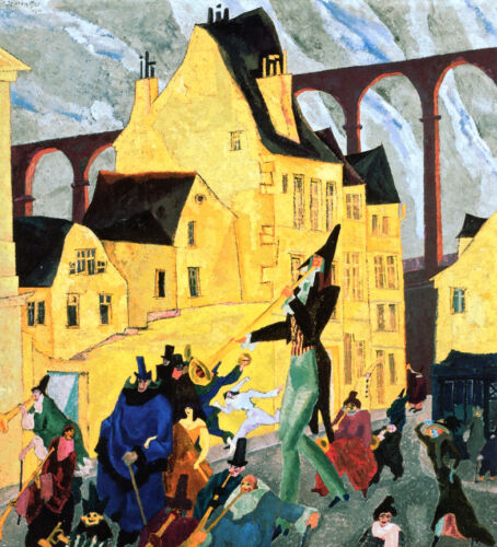 Carnival in Arcueil  by Lyonel Feininger   Giclee Canvas Print Repro