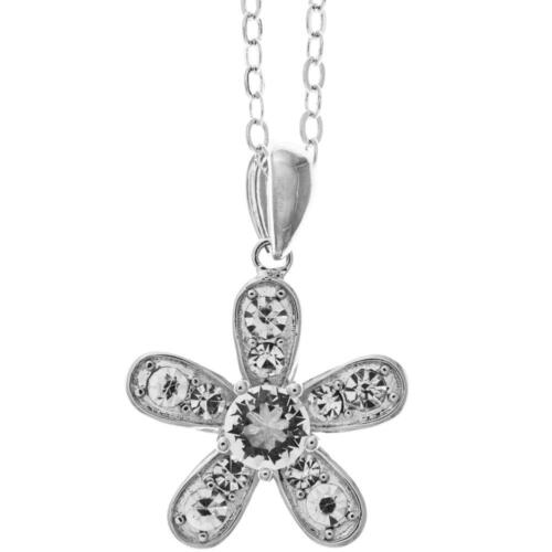 """16"""" 18K White Gold Necklace w/Petalled Flower Design & Clear Crystals by Matashi"""