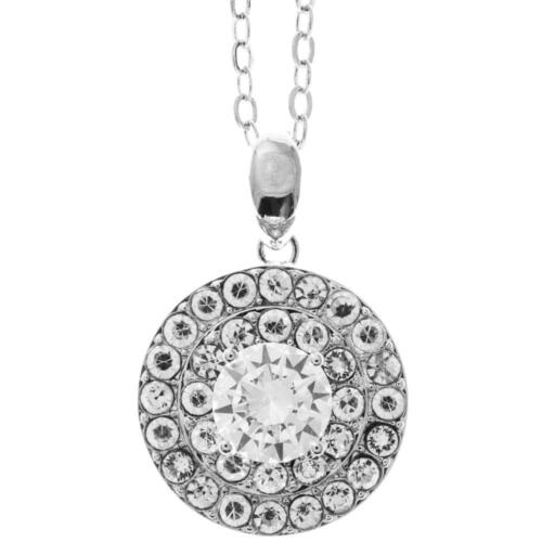 """16"""" 18K White Gold Necklace w/ Three Circles Design & Clear Crystals by Matashi"""