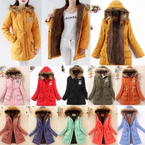 Womens Warm Long Coat Fur Collar Hooded Jacket Slim Winter Parka Outwear Coats