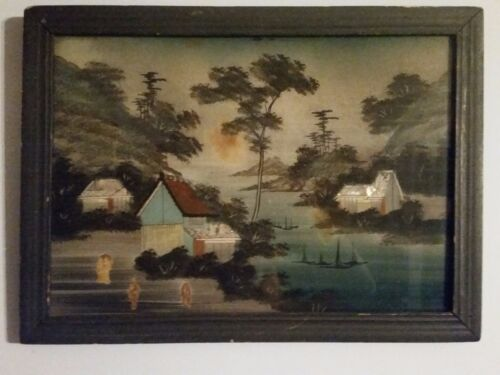 Japanese Reverse Painting on Glass River Mountain Boat  Abalone Shell 16x22 OLD