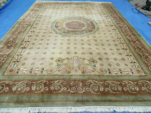10' X 14' Vintage Hand Made Aubusson Wool Rug Decorative