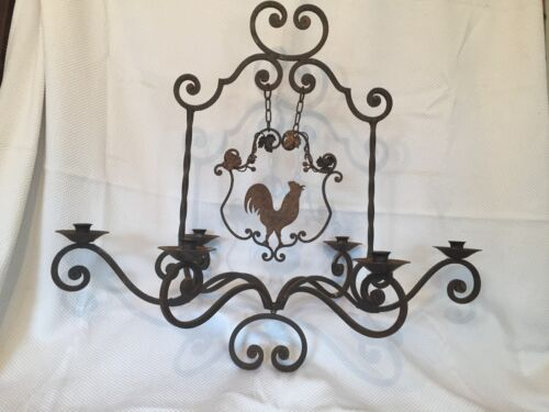 19th Cen Country French Wrought Iron Chandelier