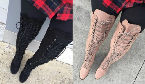 LILIANA ULTRA-SUEDE Lace Up thigh high Over the Knee OTK boots 5.5-11 Willy-1