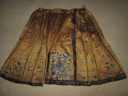"""CHINESE EMBROIDERED SILK SKIRT / WRAP   ~30"""""""