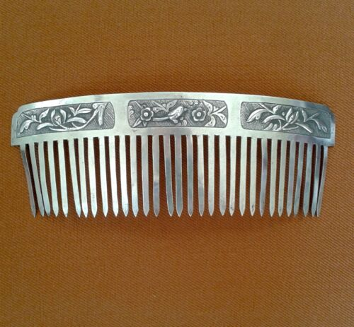 Antique Chinese Silver Hair Comb with Bird and Flowers - Signed
