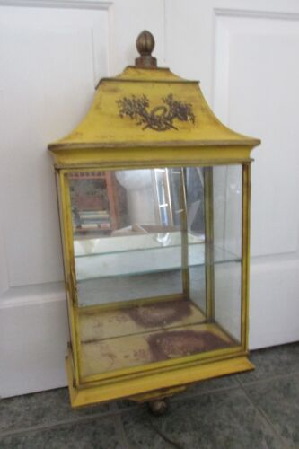 Vntge Italian TOLE HANGING CURIO CABINET Metal Ptd Mirrored Yellow Black Torches