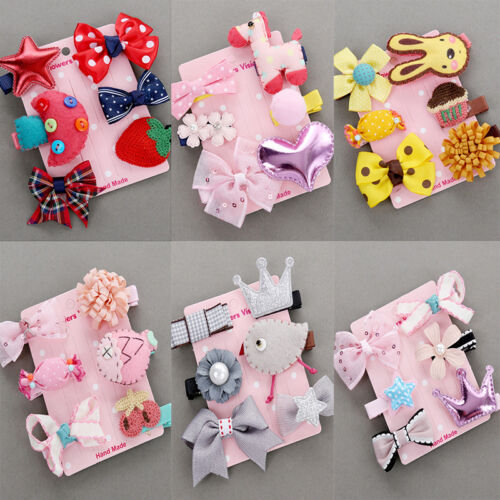 6Pcs/set Kids Infant Baby Girl Hair Clip Bow Flower Cartoon Hairclip Hairpin POP