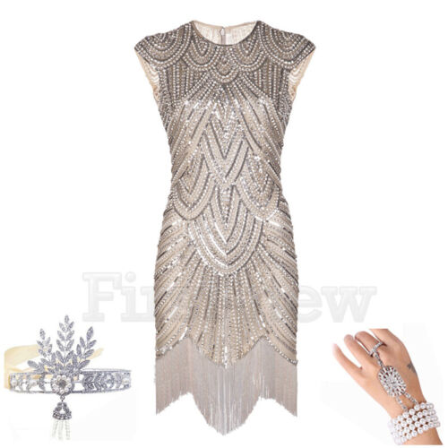 1920s Flapper Dress Great Gatsby Party Evening Prom Gown Sequins Fringes Dresses