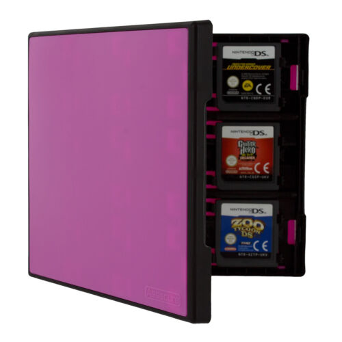 Cartridge case for 3DS & DS Nintendo 18 games Travel Box -Black & Pink | ZedLabz