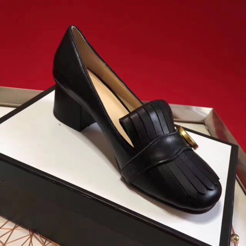 Women's Cap Toe Fringes Chunky Heel Leather Pumps Loafers Size 4.5-10 35-41