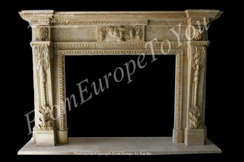 BEAUTIFUL HAND CARVED MARBLE EUROPEAN DESIGN FIREPACE MANTEL - MBY103