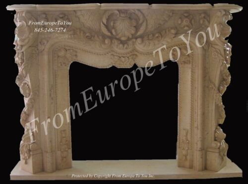 GREAT HAND CARVED MARBLE FIREPLACE MANTEL FPM 300