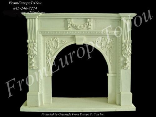 HAND CARVED MARBLE CLASSICAL FIREPLACE MANTEL TLE001A