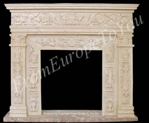BEAUTIFUL HAND CARVED MARBLE FIREPLACE MANTEL TLE18