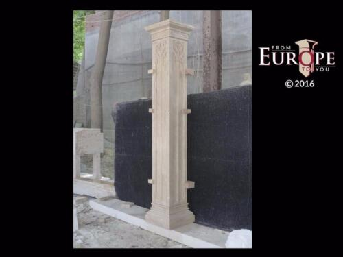 BEAUTIFUL HAND CARVED TRAVERTINE MARBLE GOTHIC ESTATE COLUMNS - GCC1