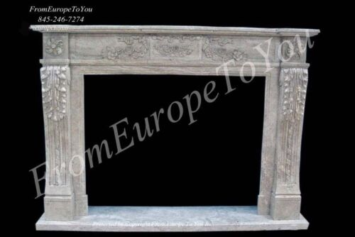 HAND CARVED MARBLE CLASSICAL FIREPLACE MANTEL TLE19