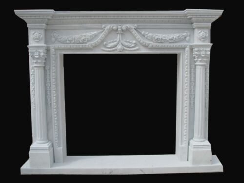 HAND CARVED MARBLE CLASSICAL FIREPLACE MANTEL PB7