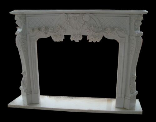 HAND CARVED FRENCH STYLE MARBLE FIREPLACE MANTEL MN365A