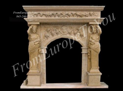 BEAUTIFUL HAND CARVED MARBLE FIGURAL FIREPLACE MANTEL #MBR105