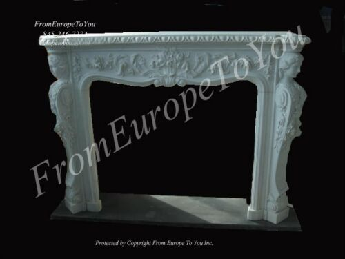 BEAUTIFUL HAND CARVED MARBLE FIGURAL VICTORIAN MANTEL - NS35