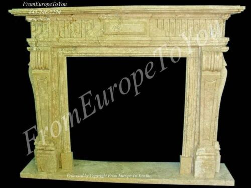 HAND CARVED MARBLE CLASSICAL FIREPLACE MANTEL TLE3A