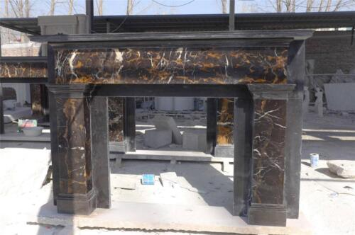 HAND CARVED CUSTOM BLACK AND GOLD ITALIAN MARBLE ESTATE FIREPLACE MANTEL - ZM1