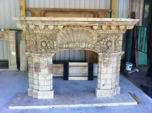 HAND CARVED MARBLE SHELL FIREPLACE MANTEL MFPSS1