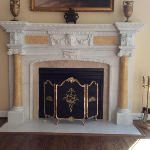 HAND CARVED FRENCH STYLE MARBLE FIREPLACE MANTEL LM026