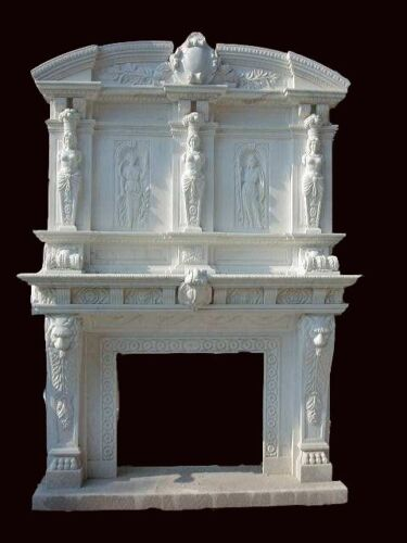 HAND CARVED MONUMENTAL MARBLE FIREPLACE MANTEL  - HL005