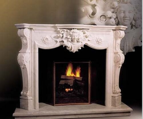 BEAUTIFUL HAND CARVED MARBLE FIGURAL FIREPLACE MANTEL #10FPMU3