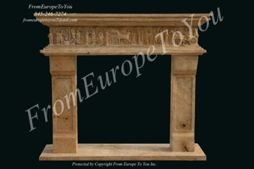 EUROPEAN ROMAN HAND CARVED MARBLE FIREPLACE MANTEL #FPMA
