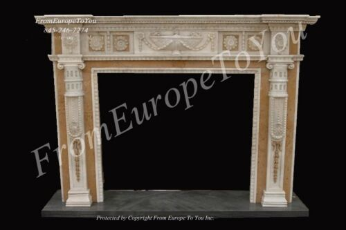 NICE HAND CARVED MARBLE FIREPLACE MANTEL #MBF070