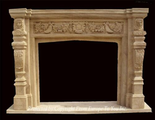 MONUMENTAL HAND CARVED MARBLE ESTATE FIREPLACE MANTEL - FPM841