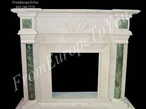 BEAUTIFUL HAND CARVED MARBLE FIREPLACE MANTEL TLE7