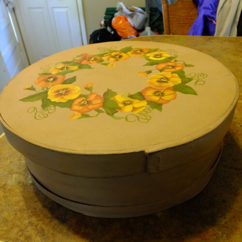 """Vintage 15"""" round wood cheese box hand painted pansies floral lined inside"""