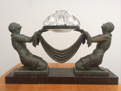 Art Deco Lamp Ecstasy 1925 Le Verrier Foundry Signed Fayral