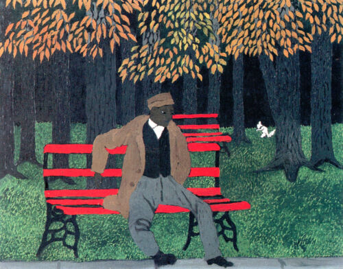 Man on a Bench  by Horace Pippin  Giclee Canvas Print Repro