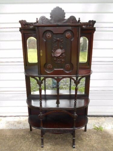 Unusual Antique Carved Victorian Mahogany Mirrored/Doored Etagere