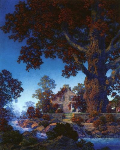 The Little Stone House by Maxfield Parrish   Giclee Canvas Print Repro